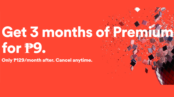 9 pesos for 3 months spotify